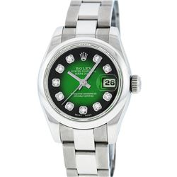 Rolex Ladies Stainless Steel Green Vignette Diamond Quickset Datejust Wristwatch