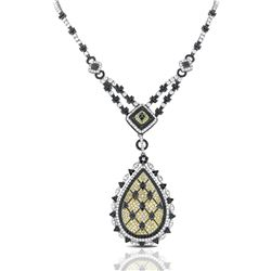 18k White Gold 8.53CTW Diamond and Black Diamonds Necklace, (SI2-SI3/I)