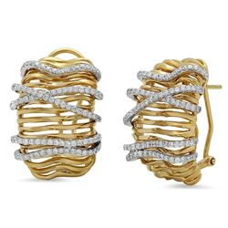 18k Gold 0.98CTW Diamond Earrings, (VS1-VS2/G)