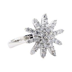 0.60 ctw Diamond Starburst Ring - 14KT White Gold
