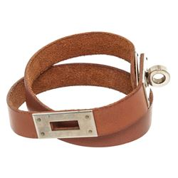 Hermes Brown Leather Palladium Plated Kelly Choker Necklace