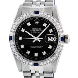 Rolex Mens Stainless Steel Black Diamond & Sapphire Datejust Wristwatch