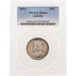 1893 Isabella Commemorative Quarter Coin PCGS MS64