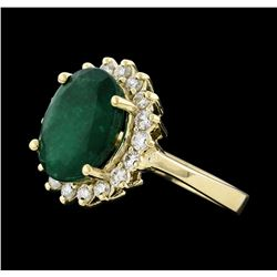 4.41 ctw Emerald and Diamond Ring - 14KT Yellow Gold