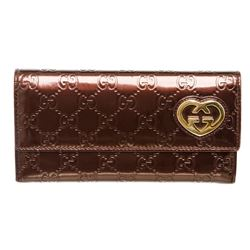 Gucci Metallic Burgundy Patent Leather Interlocking GG Heart Long Wallet