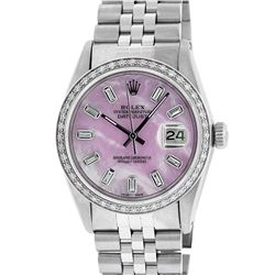 Rolex Mens Stainless Steel Pink MOP Baguette Diamond 36MM Datejust Wristwatch