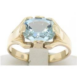 10k Gold Cushion Cut Horizontal Aquamarine Solitaire Ladies Ring