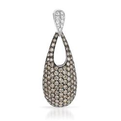 18k White Gold 1.84CTW Brown Diamonds and Diamond Pendant, (SI2-SI3/G/C2-C3)