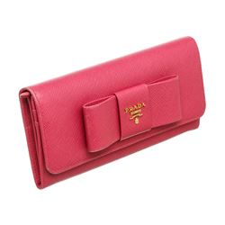 Prada Pink Saffiano Leather Lux Fiocco Bow Wallet