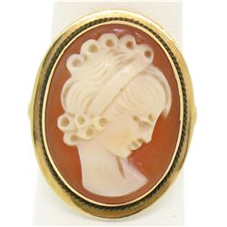 14k Yellow Gold Carved Shell Cameo Ring w/ Twisted Wire Frame