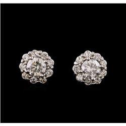 1.76 ctw Diamond Earrings - 14KT White Gold