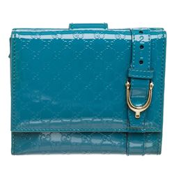 Gucci Blue Patent Leather Microguccissima GG Compact Wallet