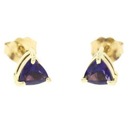 14k Yellow Gold 1.20 ctw Prong Set Trillion Cut Amethyst Solitaire Stud Earrings