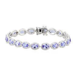 7.57 ctw Tanzanite and Diamond Bracelet - 18KT White Gold