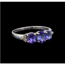 14KT White Gold 1.33 ctw Tanzanite and Diamond Ring