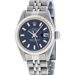 Rolex Ladies Stainless Steel Blue Index 26MM Quickset Datejust Wristwatch