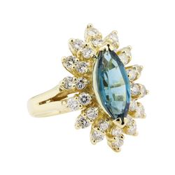 3.00 ctw Blue Topaz and Diamond Ring - 14KT Yellow Gold