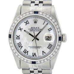 Rolex Mens Stainless Steel Silver MOP Roman 36MM Diamond & Sapphire Datejust Wri