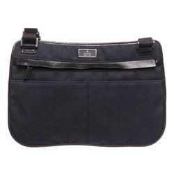 Gucci Blue Black Fabric Leather Flat Crossbody Shoulder Bag