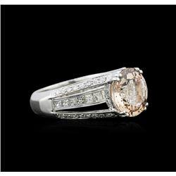 3.54 ctw Morganite and Diamond Ring - 18KT White Gold
