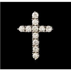 3.55 ctw Diamond Cross Pendant - 18KT White Gold