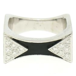 14K White Gold 0.30 ctw Diamond & Black Enamel Stone Finished Squared Band Ring
