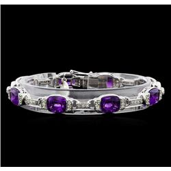 Crayola 20.00 ctw Amethyst and White Sapphire Bracelet - .925 Silver
