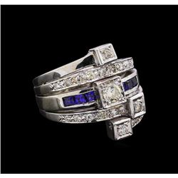 0.82 ctw Diamond and Sapphire Stackable Ring Set - 14KT White Gold