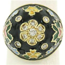 14K Yellow Gold Diamond Black Blue Green Yellow Enamel Dome Flower Ring