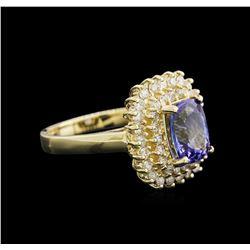 2.41 ctw Tanzanite and Diamond Ring - 14KT Yellow Gold