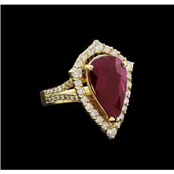 GIA C 5.98 ctw Ruby and Diamond Ring - 14KT Yellow Gold