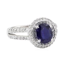 2.45 ctw Sapphire and Diamond Ring - 14KT White Gold