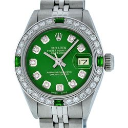 Rolex Ladies Stainless Steel Green Diamond & Emerald 26MM Datejust Wristwatch