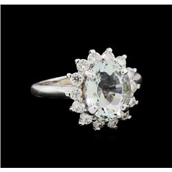 2.81 ctw Aquamarine and Diamond Ring - 14KT White Gold