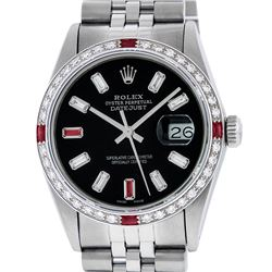 Rolex Mens Stainless Steel Black Baguette Diamond Ruby & 36MM Datejust Wristwatc