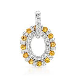 14k White Gold 2.32CTW Yellow Sapphire and Diamond Pendant, (SI2-SI3/Yellow/H-I)