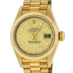Rolex Ladies 18K Yellow Gold Champagne Index Datejust President Wristwatch With