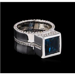 Crayola 4.20 ctw Blue Topaz and White Sapphire Ring - .925 Silver