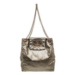 Chanel Gray Metallic Crackled Calfskin Perforated Leather Drill Shoulder Bag