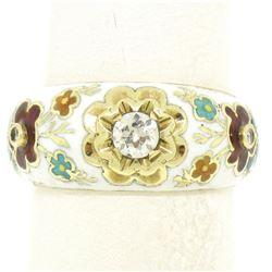14K Yellow Gold Old Mine Diamond White Red Blue Enamel Flower Band Ring