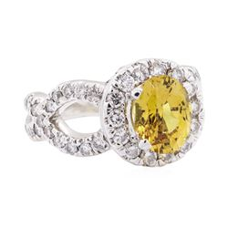 4.47 ctw Yellow Sapphire And Diamond Ring - 14KT White Gold