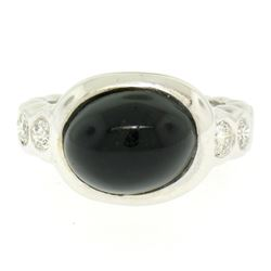 18K White Gold Oval Bezel Set Black Onyx Burnish Set Diamond Bubble Ring