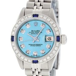Rolex Ladies Stainless Steel Quickset Blue Diamond & Sapphire Wristwatch