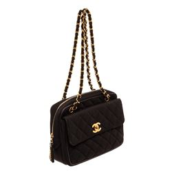 Chanel Black Quilted Fabric CC Shoulder Bag