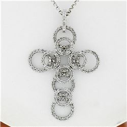 18K White Gold 2.08 ctw Shared Prong Diamond Multi Circle Cross Pendant Necklace