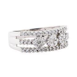 0.50 ctw Diamond Three Row Ring - 14KT White Gold