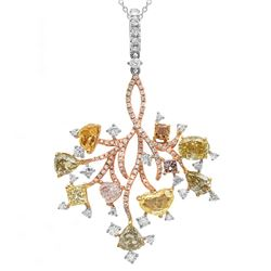 18k Three Tone Gold 4.77CTW Diamond, Pink Diamond and Multicolor Dia Pendant, (V