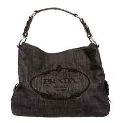 Prada Dark Gray Denim Canvas Embroidered Shoulder Bag