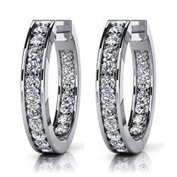 14K White Gold 0.75CTW Diamond Earrings, (SI1/F-G)