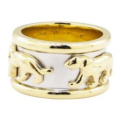 Inlaid Panther Motif Ring - 14KT Yellow and White Gold